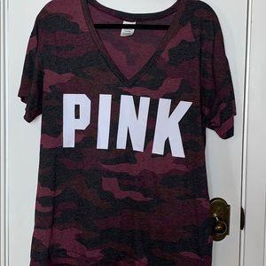 Pink camouflaged purple tee shirt size Lg